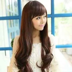 Tóc nguyên đầu mái xéo, có 3 màu đen, nâu hạt dẻ, nâu vàng, kèm lưới