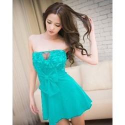 Đầm Xòe Cao Cấp Cúp Ngực Phối Ren XANH G203