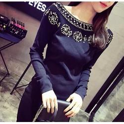 Đầm ôm len cao cấp đính ngọc 2015 Hàn Quốc