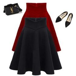 Chân váy xoè lưng cách điệu có túi - Có 2 màu lựa chọn