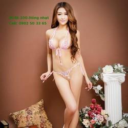 S046 Set quần áo lót cột dây mỏng sexy màu hồng nhạt