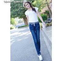 Quần jeans nữ lưng thun Mã: QD444 - XANH ĐẬM
