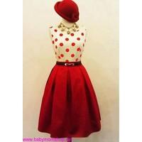 Chân váy đỏ xòe xếp ly CV11