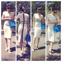 Đầm trắng viền đen dây kéo sau