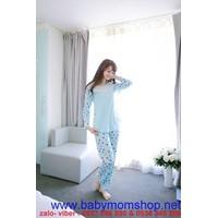Đồ bộ mặc nhà quần dài tay dài mặc mùa đông chấm bi đủ màu NN373