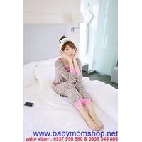 Đồ bộ mặc nhà quần dài tay dài thun cotton họa tiết beo phối renNN382