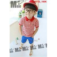 Bộ áo sọc ngang đỏ phối quần lửng xanh sành điệu cho bé trai