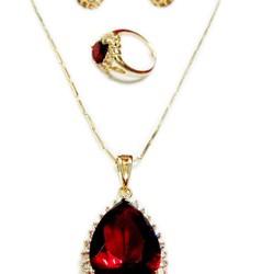 Bộ trang sức kim loại vàng đá đỏ hình tim