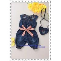 Bộ đồ bay jean thêu hoa kèm túi xinh xắn cho bé yêu