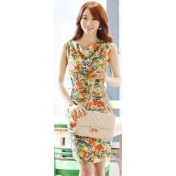 CS016 - HÀNG NHẬP KOREA - Đầm công sở voan hoa xuân rực rỡ