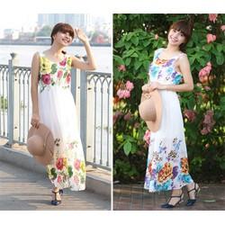 Hình sp thật - Đầm maxi hoa hải đường - DV2161