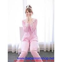 Đồ mặc nhà quần dài tay dài chấm bi phối ren cực xinh NN381