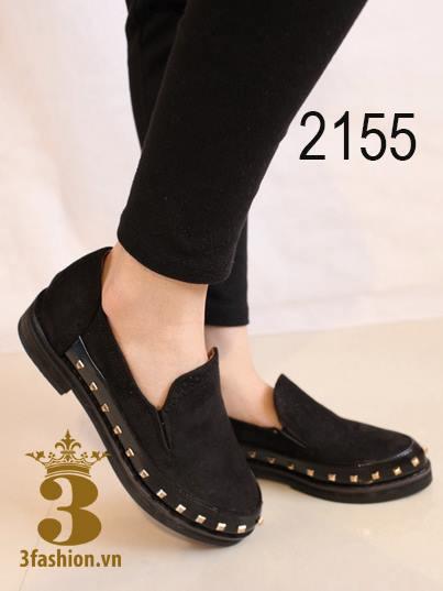 Giày búp bê - giày búp bê gót thô - giày búp bê viền đinh phối da lộn 4