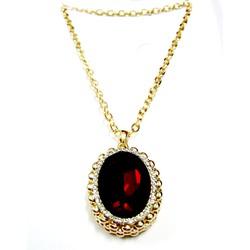Dây chuyền kim loại vàng, mặt đá oval đỏ DCOVALDO-275