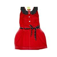 Đầm đỏ cổ lá sen chấm bi DX021-289