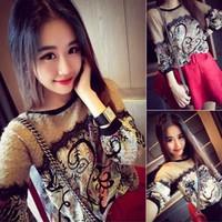 áo len nữ tay dài hoa văn