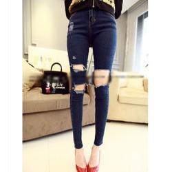 Quần jeans dài rách 3 ô vuông Mã: QD499 - XANH
