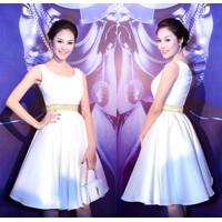 Đầm đi tiệc mặc đi cưới màu trắng xòe giống đẹp như Linh Chi DM129