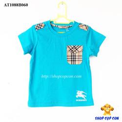 Áo thun phối túi màu xanh dương size 2-8