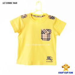 Áo thun Burberry phối túi màu vàng size 2-8