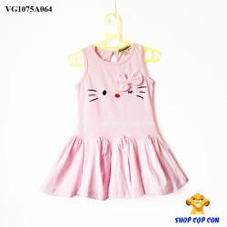 Đầm sát nách hồng phấn hình mèo nơ