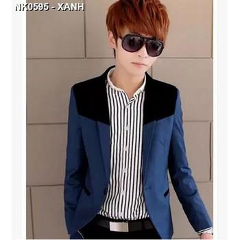 Áo khoác nam giả vest phối màu Mã: NK0595 - XANH