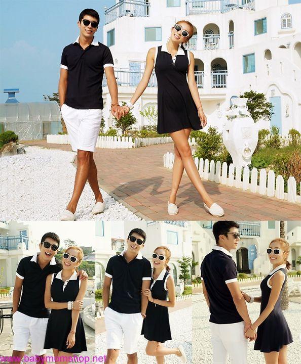 Set áo váy cặp tình nhân trắng đen nổi bật zAVC9 1