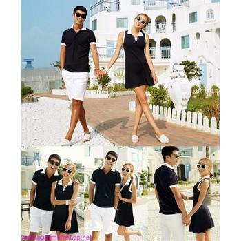 Set áo váy cặp tình nhân trắng đen nổi bật zAVC9