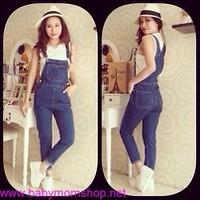 Yếm Jean dài đơn giản phong cách trẻ trung da ve hang