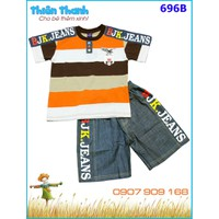 Bộ bé trai áo thun phối quần jean size đại cho bé 26-45kg