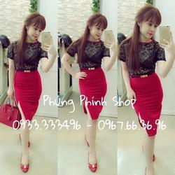 Set áo ren chân váy ôm xẻ đùi màu đỏ