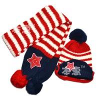 Set nón và khăn len sọc ngôi sao NL-106A