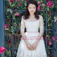 Đầm tùng ren hoa tay lửng thắt nơ eo mặc đi cưới cực xinh DA653
