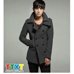 áo khoác măng tô hàn quốc Mã: NK0305 - XÁM ĐẬM