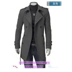 áo khoác măng tô hàn quốc Mã: NK0010 - XÁM