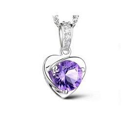 Dây chuyên bạc trái tim màu tím