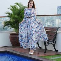 Váy maxi voan hoa thiết kế tay dài sang trọng DM58