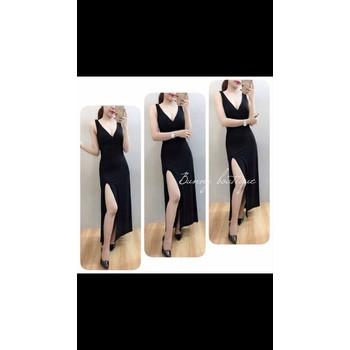 Đầm maxi đen xẻ tà - C2461