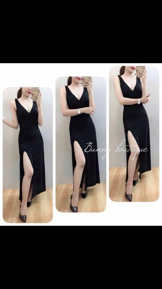 Đầm maxi đen xẻ tà - C2461 1