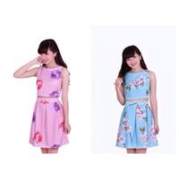 Set áo hoa + chân váy cao cấp SAVD012