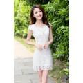 Đầm ren hoa duyên dáng màu trắng - GT63