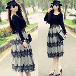 shopthaonhi - Set áo thun đen xích vàng chân váy xám pha ren