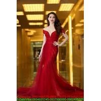 SHOP THIẾT KẾ : Đầm dạ hội trễ vai phối ren váy lưới kiêu sa sDMX143
