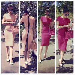 Đầm hồng viền đen dây kéo sau giống ngọc trinh