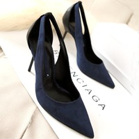 Giày Zara cao gót đen phối xanh
