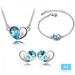 Bộ trang sức trái tim biển xanh