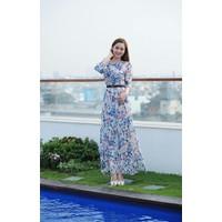 Váy maxi voan hoa thiết kế tay dài sang trọng #194