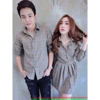 Made in Thái Lan : Set áo váy cặp tình nhân kẻ sọc yêu thương sATD63