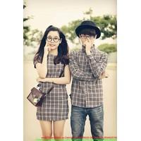 Made in Thái Lan : Set áo váy cặp tình nhân kẻ sọc cực đáng iu sATD64