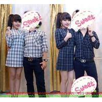 Made in Thái Lan : Set áo váy cặp tình nhân kẻ sọc cực đáng iu sATD65